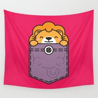 pocket Wall Tapestries featuring Pocket Lion by Steven Toang
