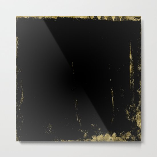 Black and Gold grunge modern abstract background I Metal Print