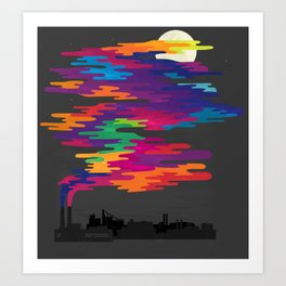 Hidden in the Smog (Night) Art Print