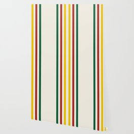 Rustic Lodge Stripes Black Yellow Red Green Wallpaper