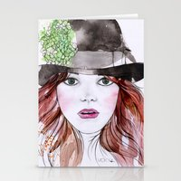 emma stone Stationery Cards featuring Emma Stone by Vicky Ink.