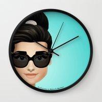 audrey Wall Clocks featuring Audrey by Matias G. Martinez