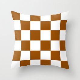 Large Checkered - White and Brown Throw Pillow