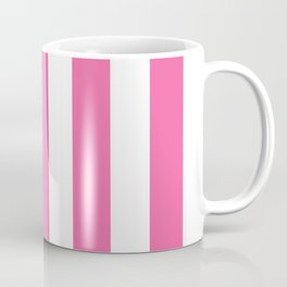 Barbie Pink (1990-1999) - solid color - white vertical lines pattern Coffee Mug