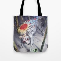 okami Tote Bags featuring Okami by Caroline Roy