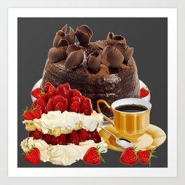 STRAWBERRY & CHOCOLATE CAKE BREAKFAST Art Print