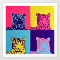 tigers Art Prints featuring Tigers by retnemrapS
