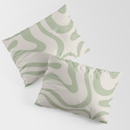 Liquid Swirl Abstract Pattern in Almond and Sage Green Pillow Sham