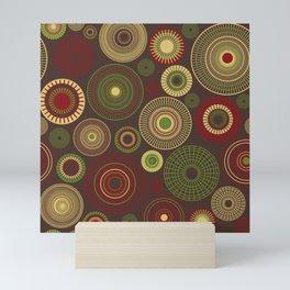 concentric circles dark brown Mini Art Print