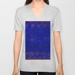V11 Calm Blue Printed of Original Traditional Moroccan Carpet Unisex V-Neck