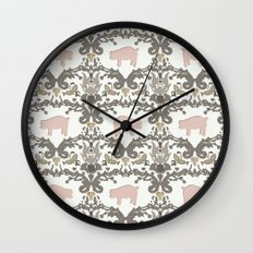 pig damask Wall Clock
