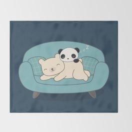 Kawaii Lazy Panda and Polar Bear Throw Blanket