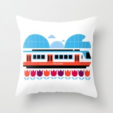 Postcards from Amsterdam / Train and Tulips Throw Pillow