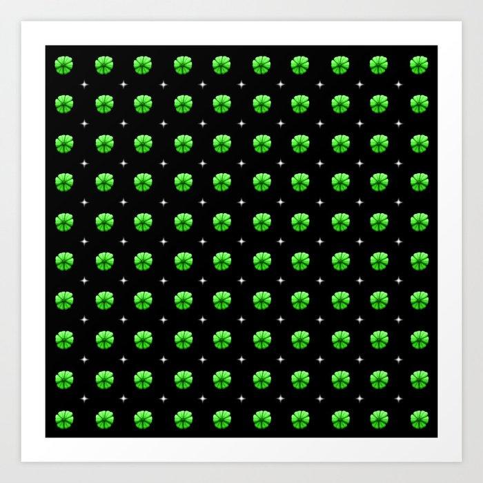 White stars green flowers grid Art Print