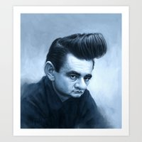 johnny cash Art Prints featuring Johnny Cash by Thomas J. Moore