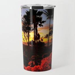 Maui Sunset with Red Flowers Travel Mug