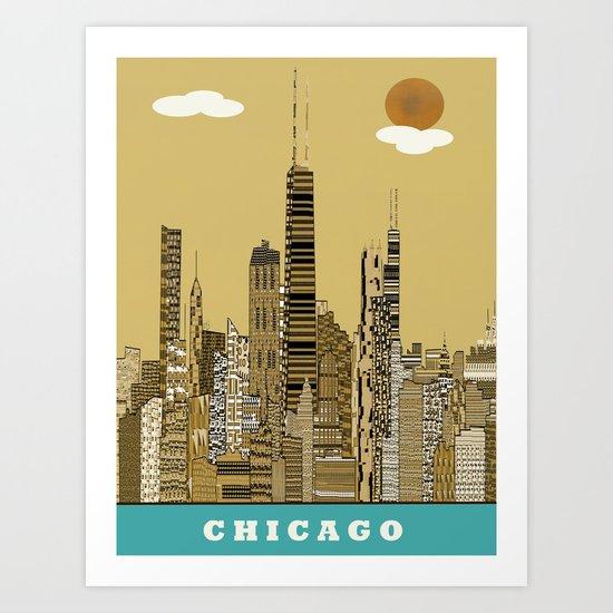 Chicago city (vintage Art Print