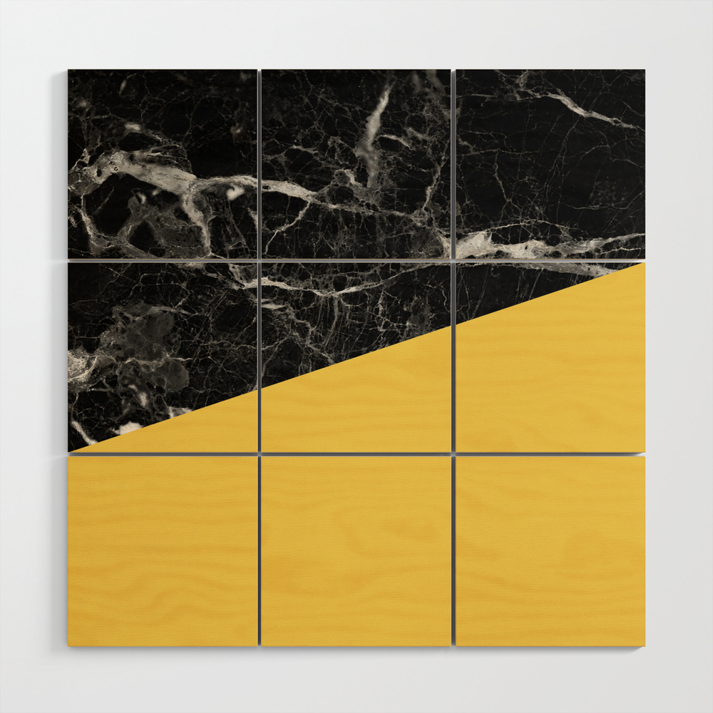 Black Marble And Primrose Yellow Color Wood Wall Art by Calacatta