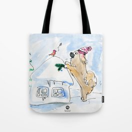 Winter Wonderland Tibbie in a Knitted Hat Enjoying the Snowy Day Tote Bag