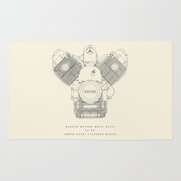 Moto Guzzi engine poster, man cave stuff, motorbike, motorcycle, garage, café racer, scrambler Rug