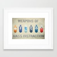 weapons of mass creation Framed Art Prints featuring Weapons of Mass Distraction by Hunter Langston Designs
