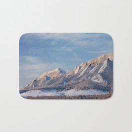 Winter Snow on Flatirons in Boulder Colorado Bath Mat