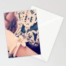 Girl, Vintage, Pearls  Stationery Cards