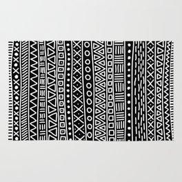 Black white hand painted geometrical aztec pattern Rug