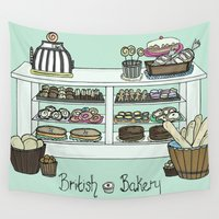 british Wall Tapestries featuring British Bakery by Hayley Bowerman Design