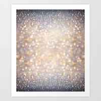 glitter Art Prints featuring Glimmer of Light (Ombré Glitter Abstract) by soaring anchor designs