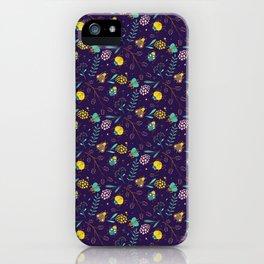 Flora & Beetles (purple) iPhone Case