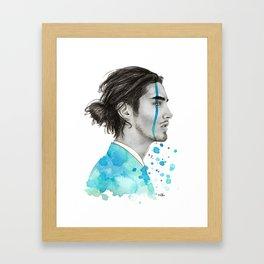Man Bun Tears Framed Art Print