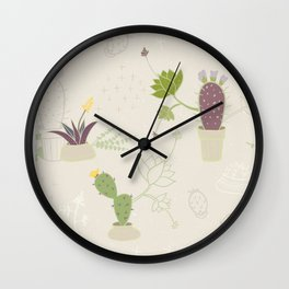 My Potted Cactus Pattern Wall Clock
