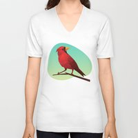 low poly V-neck T-shirts featuring Low-poly Red Bird by fortyfive