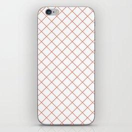 Pantone Living Coral Thin Line Stripe Grid (Pinstripe Pattern) on White iPhone Skin