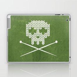 Knitted Skull - White on Olive Green Laptop & iPad Skin