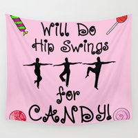 workout Wall Tapestries featuring Ballet Barre Workout Dance for Candy by Whimsy and Nonsense