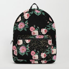 Romantic peony floral and golden confetti design Backpack