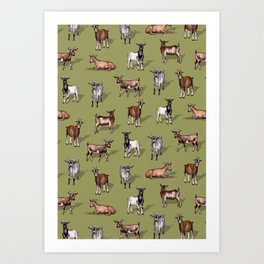 Tiny Goats on Green - Goat Herd Pattern Art Print