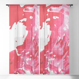 The One Who Came by Water and Blood. Watercolor Red Wave Sheer Curtain