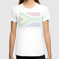 south africa T-shirts featuring digital Flag (South Africa) by seb mcnulty