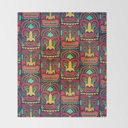 Tiki tribal mask pattern. Throw Blanket