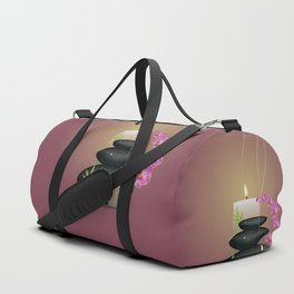 Pebbles with orchid Duffle Bag