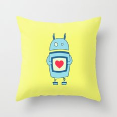 Cute Clumsy Robot With Heart Throw Pillow