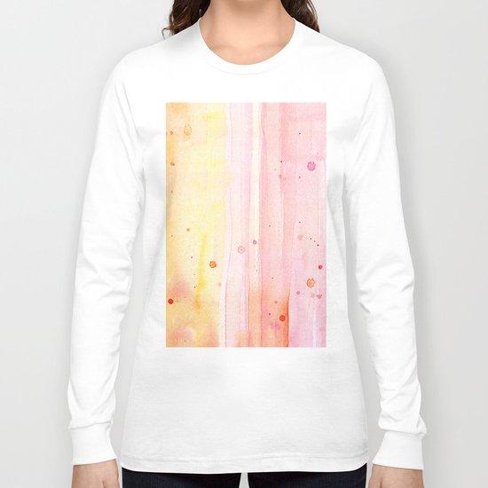Pink Orange Rain Watercolor Texture Splatters Long Sleeve T-shirt