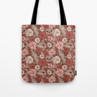 otters Tote Bags featuring Rose Otters by FallenZephyr