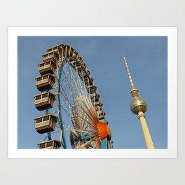 Ferris Wheel with Berlin TV Tower, Alex, Germany Art Print