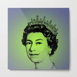 Queen Elizabeth II Green Metal Print