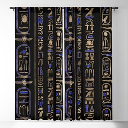 Egyptian hieroglyphs pattern Gold Lapis Lazuli #2 Blackout Curtain