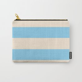 Antique White and Baby Blue Stripes Carry-All Pouch